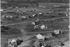 WPA era photo of migrant labor camps near Sacramento CA
