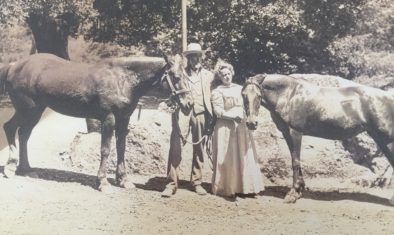 Tl Grigsby and his wife with horses